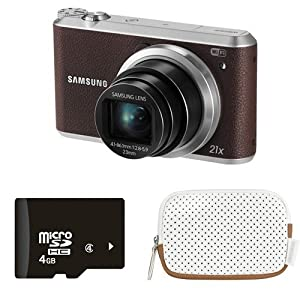 Samsung WB350F 16.2MP Smart WiFi Digital Camera with 4GB Card and Case (Brown)