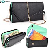 HTC One X Wristlet with Shoulder Strap Option (Black and Light Jade Green) + NEXTDIA Velcro Wrap