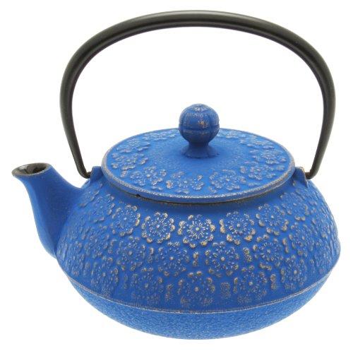 Iwachu Japanese Iron Tetsubin Teapot, Gold and Blue Blossom Design (Japanese Teapot Iwachu compare prices)