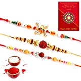 Traditional Villa Handcrafted 3 Pc Fancy Rakhi N Greeting Card Gift Rakhi For Brother With Gift Combo And Rakhi For Bhaiya Bhabhi Combo Free Shipping+Roli+Chawal+Greeting Card !!-3Rgs1011