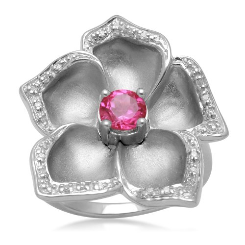 Jewelili Flower Ring with Created Round Pink Sapphire and Diamond in Sterling Silver, Ring Sz 7