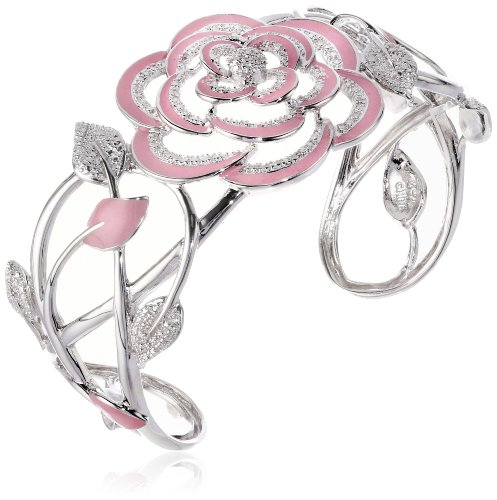 Diamond Rose Bracelet Cuff for Her