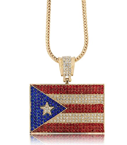 Iced Out Gold Puerto Rican Flag Pendant w/ 30