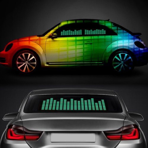 Sound Music Beat Activated Car Stickers Equalizer Glow Green Led Light Audio Voice Rhythm Lamp(70Cm X 16Cm)