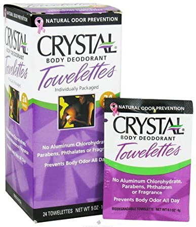 Crystal Body Deodorant Towelettes-Unscented Box Crystal Body Deodorant 24 pc Pac
