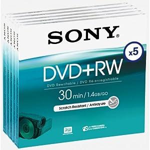Sony 8Cm Dvd+Rw 1.4Gb Single Sided 30 Min Camcorder Discs - Pack 5