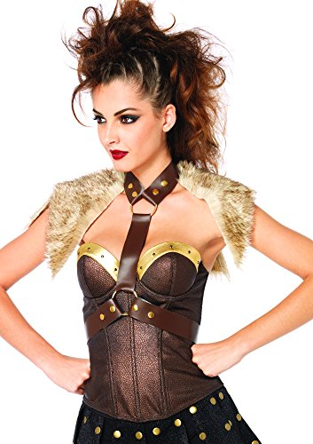 Leg Avenue Women's Fur Pelt Faux Leather Body Harness