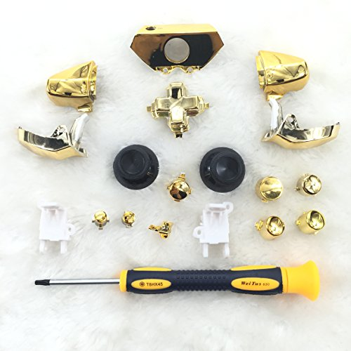 eLUUGIE Replacement Chrome Gold controller buttons set for Xbox One Controller Complete Button Set Chrome Silver with T8 Screwdriver (Gold Controller compare prices)