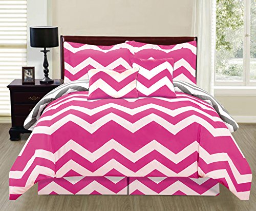 6 Piece Reversible Chevron Comforter Set New Bedding Zig Zag - Hot Buy !!! (Queen Size, Hot Pink)