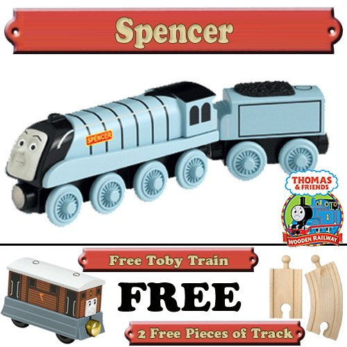 Spencer from Thomas The Tank Engine Wooden Train Set - Free 2 Pieces of Track & Free Toby Train
