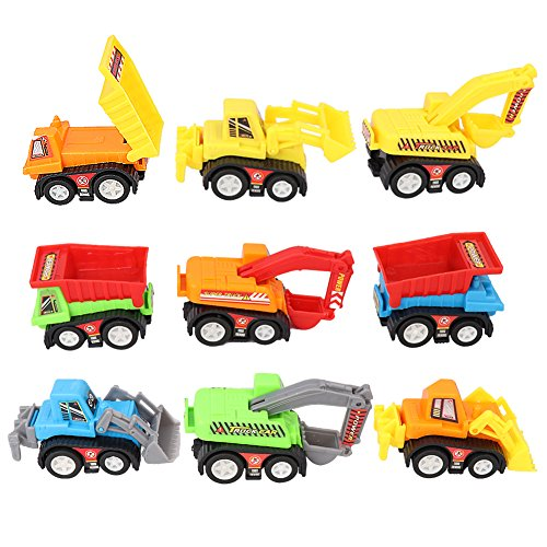6MILES 9 Pcs Mini Push Pull Back Car Model Kit Set Plastic Play Vehicle Construction Excavator Dump Truck Playset Preschool Learning for Children Toddlers for Kid Halloween Christmas Birthday Gift Set (Mini Models compare prices)
