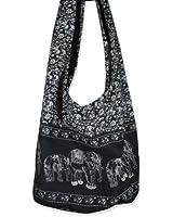 Hippie Elephant Sling Crossbody Bag Shoulder Bag Purse Thai Top Zip Handmade New Color Black