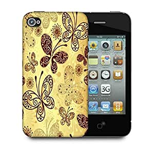 Snoogg Butterfly Cream Designer Protective Back Case Cover For Apple Iphone 4