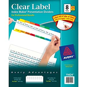 Avery index maker clear label dividers easy for Avery template 11447