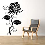 Decal Style Rose Wall Sticker Small Size-19*29 Inch Color - Black