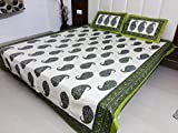 Snoopy Heritage Jaipuri, Green Abstract Print Double Bed Sheet (2 Complimentary Pillow Cover, 20's Cotton, Heavy Material)