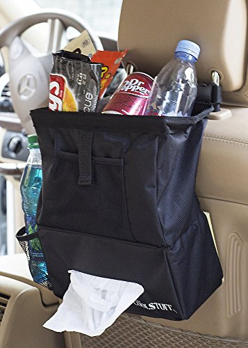 Deluxe Car Trash Bag & Hanging Organizer - With Bottle or Cup Holder, Tissue Box Compartment, & Mesh Pocket for Wires, Cables or Maps - Now 40% Larger (Auto Trash compare prices)