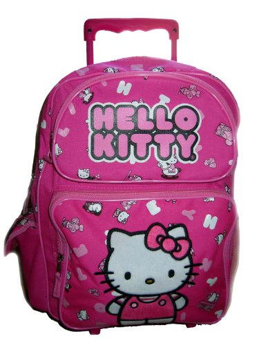 Sanrio Hello Kitty Kid Size Rolling Backpack Bag Luggage Pink