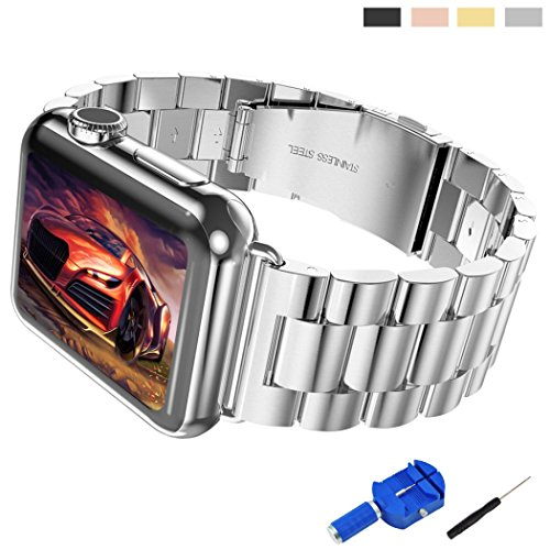 Apple-Watch-Band-Solid-Stainless-Steel-Metal-Unique-Polishing-Replacement-with-Durable-Folding-Clasp-Connector