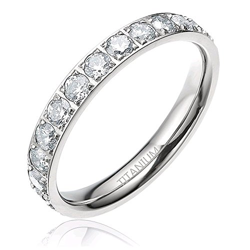 3mm Women Polished Silver Eternity Titanium Rings Round Shiny Cz Cubic Zirconia Inlaid Wedding Engagement Finger Bands Size 4 - 12 (8.5)