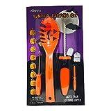 KinRex Halloween Pumpkin Carving Kit - 4 Halloween Carving Tools - 8 Halloween Stencils