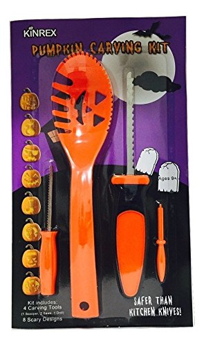 KinRex Halloween Pumpkin Carving Kit - 4 Halloween Carving Tools - 8 Halloween Stencils