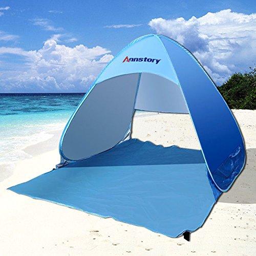 Annstory Tenda Da Spiaggia Per Esterni, Portatile, Con Protezione Solare Per 2 o 3 Persone, Protezione UV, Apertura Istantanea Pop-up, Blu