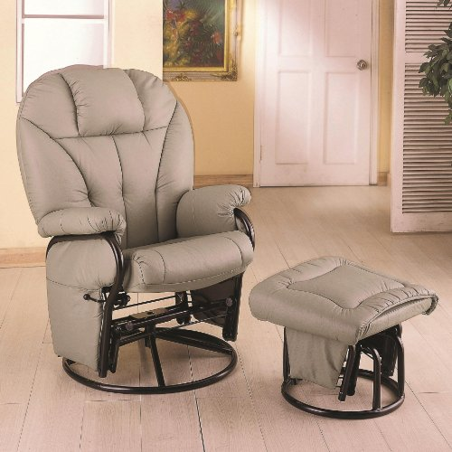 Knitted Pillow Style Leatherette Swivel Glider Rocking Chair With Ottoman back-919376