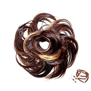 Scunci Like Hair Accessories- Faux Hair Piece Brunette with Highlights