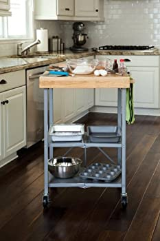 Beautiful Get Origami Foldable Kitchen Island Cart Silver from Home Depot