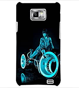 PrintDhaba Rider Girl D-1201 Back Case Cover for SAMSUNG GALAXY S2 (Multi-Coloured)