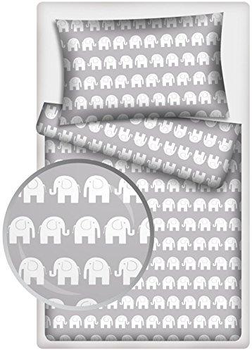 Kinderbettwäsche Garnitur Elefanten (grau)