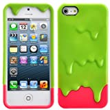 EFuture(TM) Green/Hot Pink 3D Melt Ice Cream Hard Case Cover for iPhone5/5G +eFuture's nice Keyring