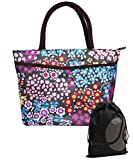 JAVOedge Black, Blue, Pink Double Pocket Flower Garden Lunch Bag Tote with Zipper and Handle and Bonus Drawstring Bag
