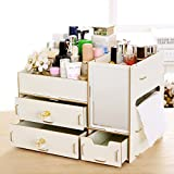 DIY 組立式 鏡付き 木製 メイクボックス  コスメ 化粧品収納 テーブルの整理 ジュエリーボックス アクセサリー ケース  収納 雑貨 小物入れ 化粧道具入れ 引き出しのタイプ (白)