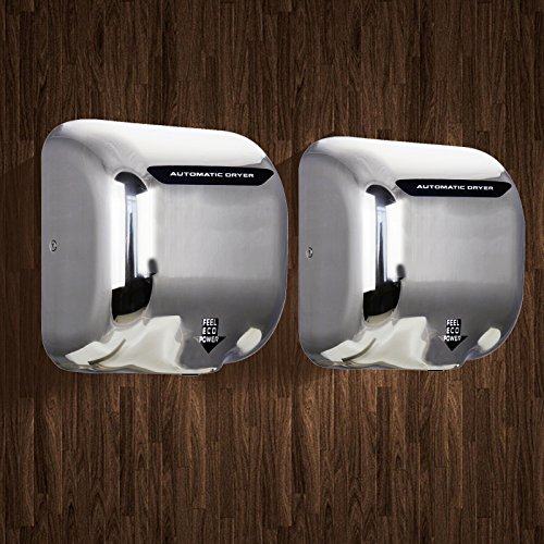 Tek Motion Commercial Premium Quality Heavy Duty Durable Hand Dryer Stainless Steel 1800w (2 pack) (dull polished) (Electric Air Dryer compare prices)