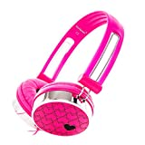 RockPapa Over Ear Love Hearts Headphones for Kids Boys Girls Childs Teens Adults, Noise Isolating, Adjustable Stereo Headphone for Surface iPod iPhone 6 iPad mini iPad Air Macbook Tablets PC MP3 Pink
