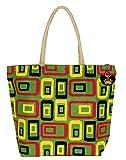 Neska Moda Swachh Bharat Women's Geometric Mobile Design Green Jute Bag Shoulder Bag - Made In INDIA