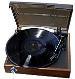 スピーカー内蔵レコードプレイヤー/お手軽アナログ盤生活/木目キャビネットターンテーブル