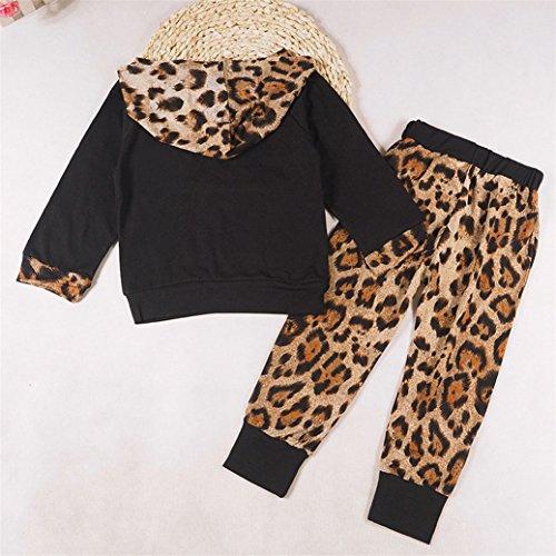 TIFENNY Baby Kids Long Sleeve Floral Print Tracksuit Top +Pants Sets (6M, black)