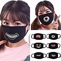Unisex Men Women Black Cycling Anti Dust Wind Cotton Mouth Expression Face Mask Respirator