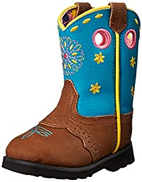 John Deere JD1157 Pull On Boot (Toddler), Tan Leather/Turquoise, 8 M US Toddler