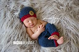 Denim and Ruby Newborn Pants Photography Prop with Matching Hat, Baby Boy Props, Newborn Pants, Photo Props, Handmade Clothing, Knit, Wool