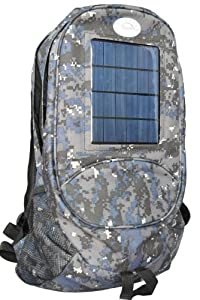 Camouflage Solar Backpack and Cell Phone Charger. 3 watt Solar Power, 4.4Ah Rechargeable Battery.