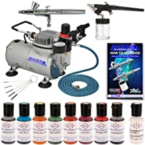 Hot Sale Complete Master Airbrush Cake Decorating Set - with 8 AmeriMist Airbrush Cake Color Set that is FDA approved and a (FREE) Pearlescent Sheen Color and a (FREE) How to Airbrush Instructional Guidebook