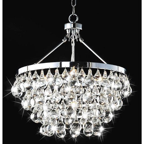 Beautiful Modern Robert Abbey Style Bling Chrome Crystal Chandelier Pendant