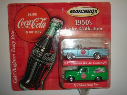 2001 Matchbox 1950's Coke Collection 2-Pack 1567 Chevrolet Bel Air Convertible & FJ Holden Panel Van - 1
