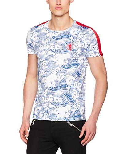 Dirk Bikkembergs Camiseta Manga Corta Blanco / Azul
