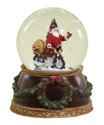 Santa Motorcycle Waterglobe