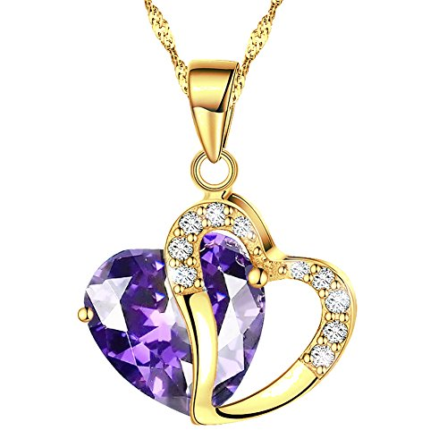 KATGI Fashion Austrian Crystals Heart Shape Pendant Necklace (Gold Plated Medium Purple)